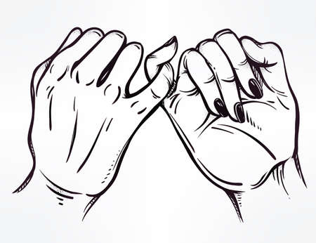 swear: Pinky promise, hand holding. Vector illustration isolated. Tattoo design, trendy friendship symbol for your use.