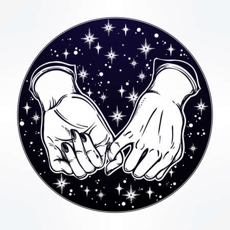pinkie: Pinky promise, hand holding on the starry dreamy ethereal background. Vector illustration isolated. Minimalist tattoo design, trendy friendship symbol for your use. Illustration