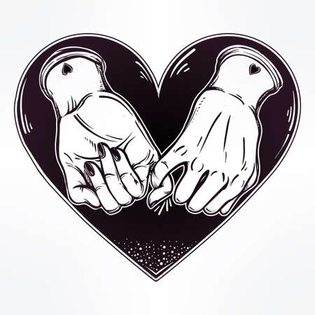 dating: Pinky promise, hand holding on the heart background. Vector illustration isolated. Minimalist tattoo design, trendy friendship symbol for your use.