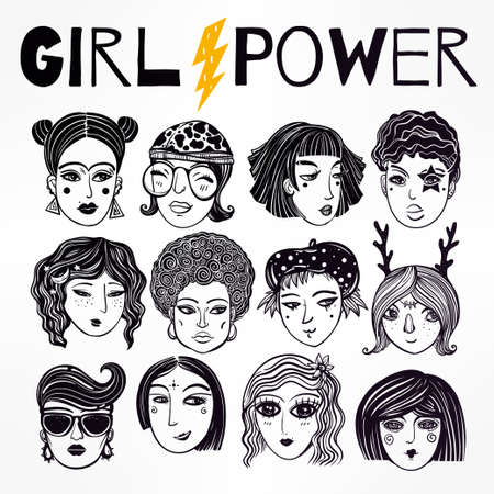 lgbt: Doodle style set of diverse female faces. Girls and women in comic style. Trendy isolated vector art.