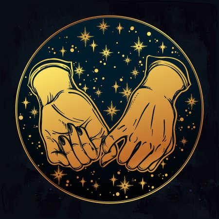 dedo meÑique: promesa de meñique, mano que sostiene en el fondo etéreo soñadora estrellado. aislado ilustración vectorial. diseño del tatuaje minimalista, moderno símbolo de la amistad para su uso.