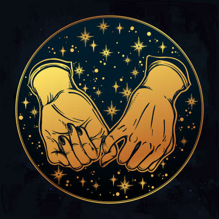 Pinky promise, hand holding on the starry dreamy ethereal background. Vector illustration isolated. Minimalist tattoo design, trendy friendship symbol for your use. Illustration