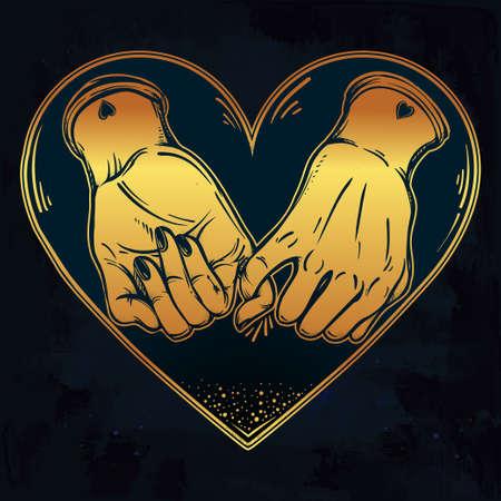 dedo me�ique: promesa de me�ique, mano que sostiene en el fondo del coraz�n. aislado ilustraci�n vectorial. dise�o del tatuaje minimalista, moderno s�mbolo de la amistad para su uso.