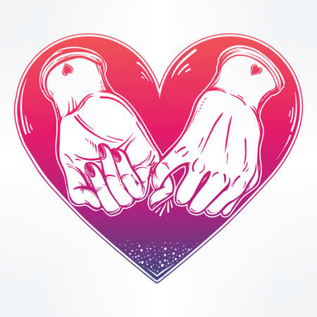 pinky: Pinky promise, hand holding on the heart background. Vector illustration isolated. Minimalist tattoo design, trendy friendship symbol for your use.