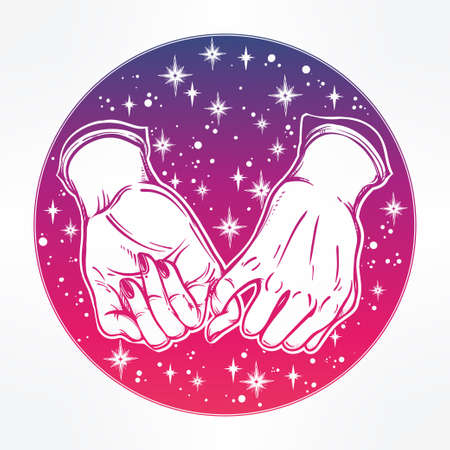 ethereal: Pinky promise, hand holding on the starry dreamy ethereal background. Vector illustration isolated. Minimalist tattoo design, trendy friendship symbol for your use. Illustration