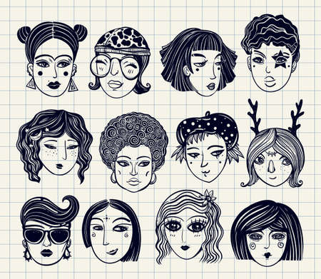 ethnicity: Doodle style set of diverse female faces. Girls and women in comic style. Trendy isolated vector art.