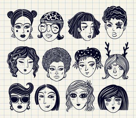 etnia: estilo de dibujo conjunto de diversas caras femeninas. Las niñas y mujeres en estilo cómico. arte del vector aislado de moda. Vectores