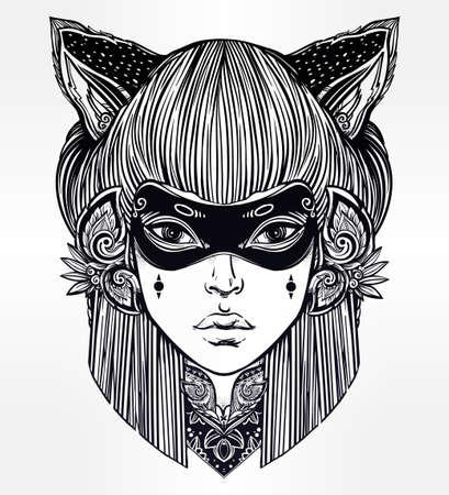 tattoo girl: Hand drawn beautiful artwork of woman in a mask with cat ears portriat. Magic, spirituality, occultism, tattoo art, coloring books. Isolated vector illustration. Japanese demon kitsune.