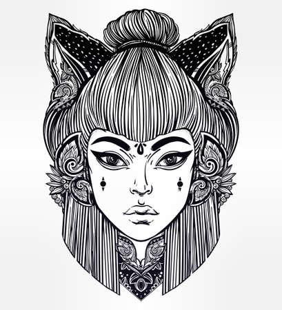 femme dessin: Japonaise belle moitié de la moitié des animaux métamorphe humain démon kitsune. Femme avec chat ou renard oreilles portriat. La magie, la spiritualité, l'occultisme, l'art du tatouage, livres à colorier. Isolated illustration vectorielle. Illustration