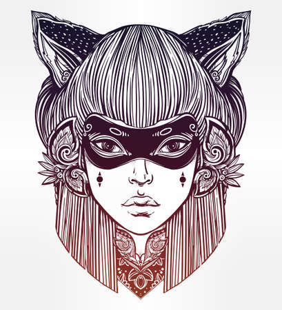 beautiful eyes: Hand drawn beautiful artwork of woman in a mask with cat ears portriat. Magic, spirituality, occultism, tattoo art, coloring books. Isolated vector illustration. Japanese demon kitsune.