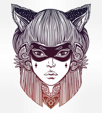 schöne augen: Hand gezeichnet schöne Grafik der Frau in eine Maske mit Katzenohren portriat. Magie, Spiritualität, Okkultismus, Tattoo-Kunst, Färbung Bücher. Isolierte Vektor-Illustration. Japanische Dämon Kitsune.