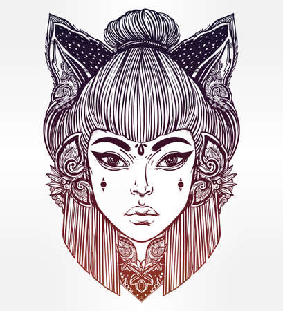 Japanese beautiful half animal half human shapeshifter demon kitsune. Woman with cat or fox ears portriat. Magic, spirituality, occultism, tattoo art, coloring books. Isolated vector illustration. Illustration