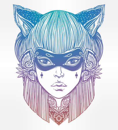 incognito: Hand drawn beautiful artwork of woman in a mask with cat ears portriat. Magic, spirituality, occultism, tattoo art, coloring books. Isolated vector illustration. Japanese demon kitsune.
