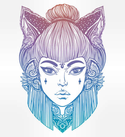 wierd: Japanese beautiful half animal half human shapeshifter demon kitsune. Woman with cat or fox ears portriat. Magic, spirituality, occultism, tattoo art, coloring books. Isolated vector illustration. Illustration