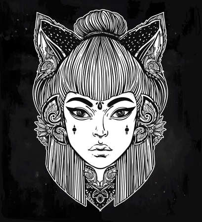 animal woman: Japanese beautiful half animal half human shapeshifter demon kitsune. Woman with cat or fox ears portriat. Magic, spirituality, occultism, tattoo art, coloring books. Isolated vector illustration. Illustration