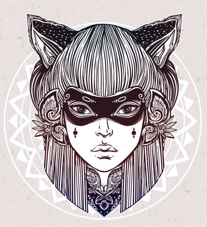 hair mask: Hand drawn beautiful artwork of woman in a mask with cat ears portriat. Magic, spirituality, occultism, tattoo art, coloring books. Isolated vector illustration. Japanese demon kitsune.