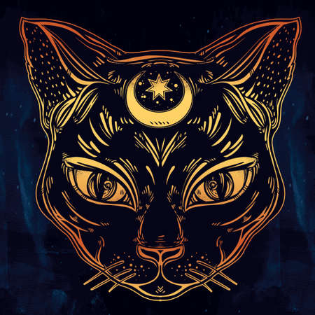 cat: Black cat head portrait with moon. Ideal Halloween background, tattoo art, Egyptian, spirituality, boho design. Perfect for print, posters, t-shirts and textiles. Vector illustration.