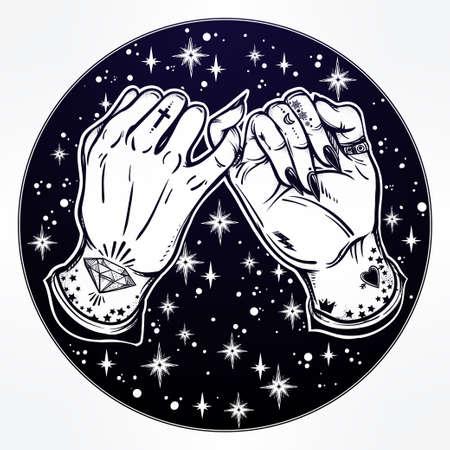 dedo meÑique: promesa de meñique, mano que sostiene en el fondo estrellado. Las manos están tatuados. Ghetto y el estilo gótico inspirado. aislado ilustración vectorial. diseño del tatuaje minimalista, moderno símbolo de la amistad.