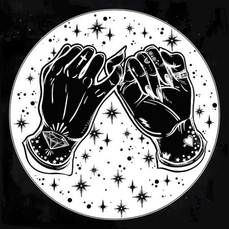 pinkie: Pinky promise, hand holding on the starry background. Hands are tattooed. Ghetto and gothic style inspired. Vector illustration isolated. Minimalist tattoo design, trendy friendship symbol.
