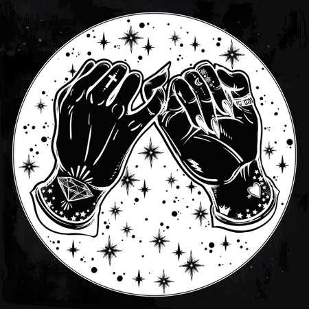 amistad: promesa de meñique, mano que sostiene en el fondo estrellado. Las manos están tatuados. Ghetto y el estilo gótico inspirado. aislado ilustración vectorial. diseño del tatuaje minimalista, moderno símbolo de la amistad.