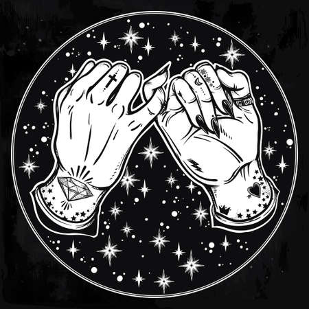wierd: Pinky promise, hand holding on the starry background. Hands are tattooed. Ghetto and gothic style inspired. Vector illustration isolated. Minimalist tattoo design, trendy friendship symbol.