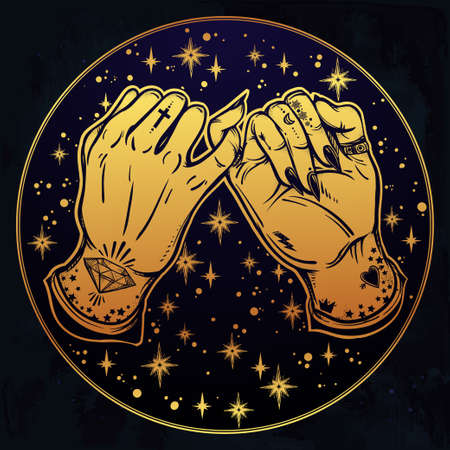 tattooed: Pinky promise, hand holding on the starry background. Hands are tattooed. Ghetto and gothic style inspired. Vector illustration isolated. Minimalist tattoo design, trendy friendship symbol.