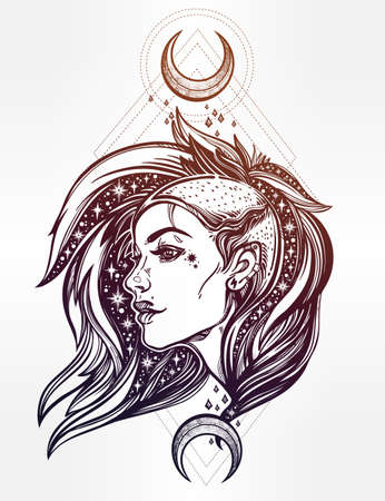 charismatic: Sexy young punk girl face with stars in her hair with moons. Female portrait in line art tattoo style with beautiful hair shaved on one side. Isolated vector illustration. Modern street subculture. Illustration
