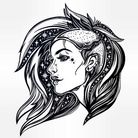 female girl: Face of a sexy young grunge punk girl with stars in her hair. Female portrait in line art tattoo style with beautiful hair shaved on one side. Isolated vector illustration. Modern street subculture.