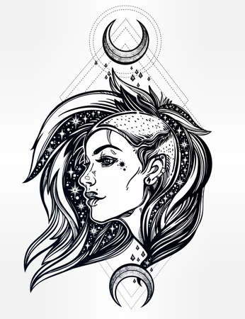 Sexy young punk girl face with stars in her hair with moons. Female portrait in line art tattoo style with beautiful hair shaved on one side. Isolated vector illustration. Modern street subculture. Illustration
