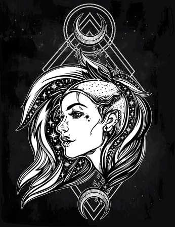 noche y luna: rostro joven y atractiva chica punk con las estrellas en su pelo con las lunas. retrato femenino en el estilo de arte del tatuaje de línea con un hermoso cabello afeitado en un lado. ilustración del vector. subcultura calle moderna.