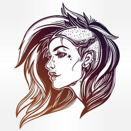 subculture: Face of a sexy young grunge punk girl. Female portrait in line art tattoo style with beautiful hair shaved on one side. Isolated vector illustration. Modern street subculture haircut for woman.