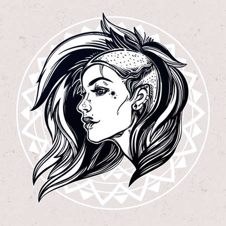 sexy young woman: Face of a sexy young grunge punk girl. Female portrait in line art tattoo style with beautiful hair shaved on one side. Isolated vector illustration. Modern street subculture haircut for woman.