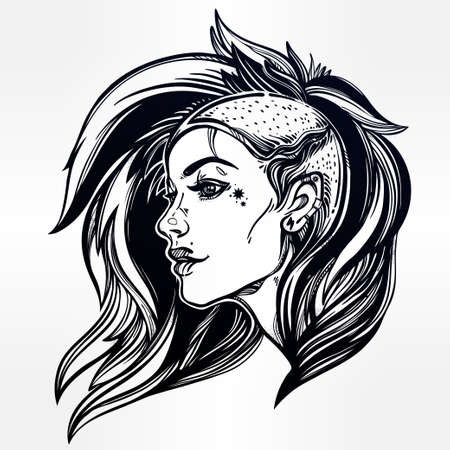 female girl: Face of a sexy young grunge punk girl. Female portrait in line art tattoo style with beautiful hair shaved on one side. Isolated vector illustration. Modern street subculture haircut for woman.