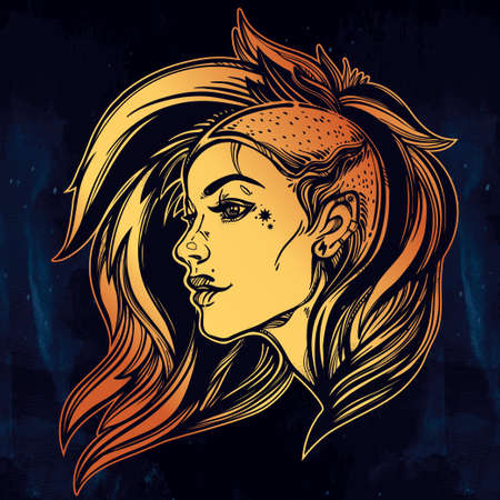 charismatic: Face of a sexy young grunge punk girl. Female portrait in line art tattoo style with beautiful hair shaved on one side. Isolated vector illustration. Modern street subculture haircut for woman.