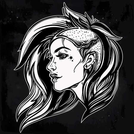 shaved head: Face of a sexy young grunge punk girl. Female portrait in line art tattoo style with beautiful hair shaved on one side. Isolated vector illustration. Modern street subculture haircut for woman.