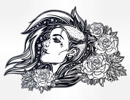 hair coloring: Face of a sexy young grunge punk girl with stars in her hair with roses. Female portrait in line art tattoo style with beautiful hair shaved on one side. Isolated vector illustration.