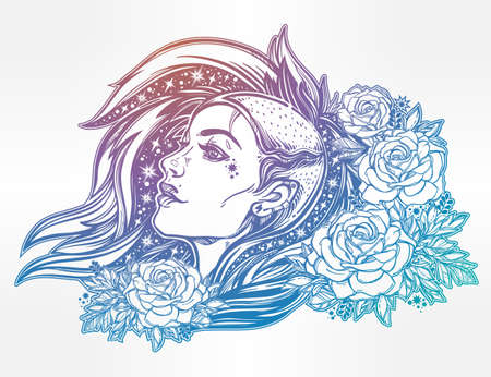 charismatic: Face of a sexy young grunge punk girl with stars in her hair with roses. Female portrait in line art tattoo style with beautiful hair shaved on one side. Isolated vector illustration.