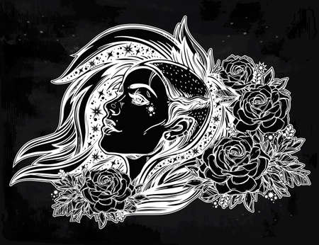 Face of a sexy young grunge punk girl with stars in her hair with roses. Female portrait in line art tattoo style with beautiful hair shaved on one side. Isolated vector illustration.