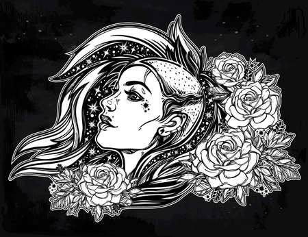 female girl: Face of a sexy young grunge punk girl with stars in her hair with roses. Female portrait in line art tattoo style with beautiful hair shaved on one side. Isolated vector illustration.