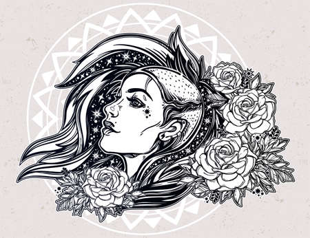 shaved head: Face of a sexy young grunge punk girl with stars in her hair with roses. Female portrait in line art tattoo style with beautiful hair shaved on one side. Isolated vector illustration.
