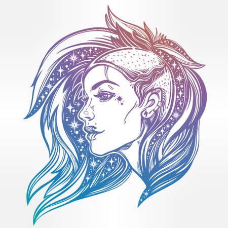shaved head: Face of a sexy young grunge punk girl with stars in her hair. Female portrait in line art tattoo style with beautiful hair shaved on one side. Isolated vector illustration. Modern street subculture.