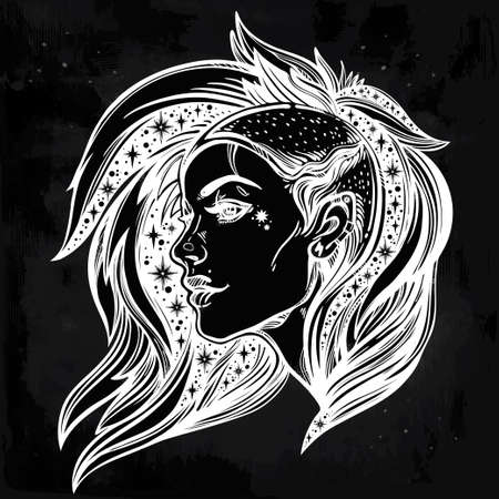 Face of a sexy young grunge punk girl with stars in her hair. Female portrait in line art tattoo style with beautiful hair shaved on one side. Isolated vector illustration. Modern street subculture.