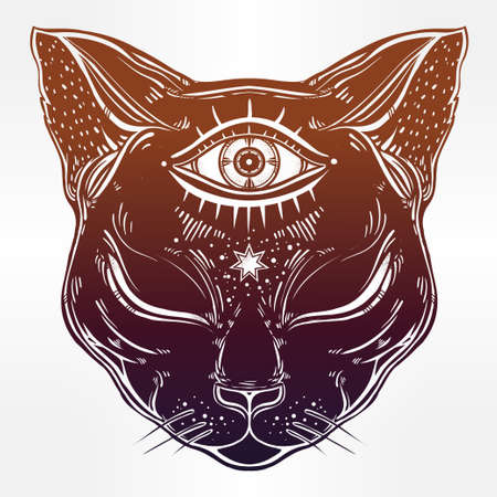 wierd: Black cat head portrait with moon and three eyes. Third eye is open. Cat is for Halloween, tattoo, wierd, spirituality, psychedelic art for print, posters, t-shirts and textiles. Vector illustration.