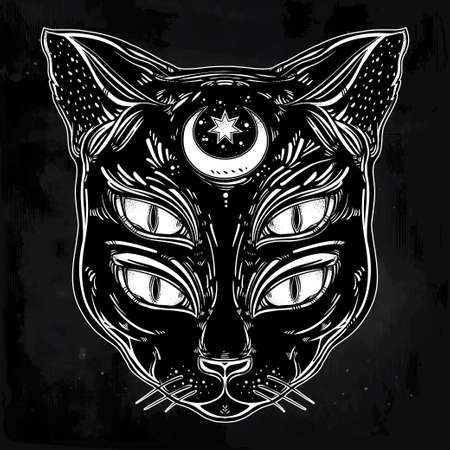 eyed: Black cat head portrait with moon and four eyes. Four eyed cat is an ideal Halloween, tattoo art, wierd, spirituality, psychedelic art for print, posters, t-shirts and textiles. Vector illustration.