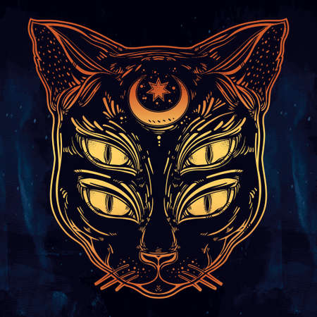 wierd: Black cat head portrait with moon and four eyes. Four eyed cat is an ideal Halloween, tattoo art, wierd, spirituality, psychedelic art for print, posters, t-shirts and textiles. Vector illustration.