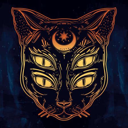 demonio: retrato negro cabeza de gato con la luna y cuatro ojos. Cuatro ojos de gato es una de Halloween ideales, arte del tatuaje, extraño, espiritualidad, arte psicodélico de impresión, posters, camisetas y textiles. Ilustración del vector.