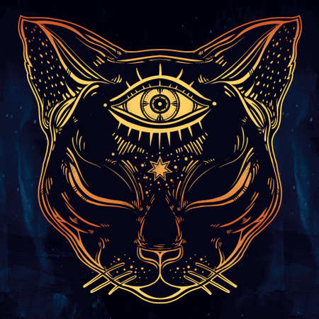 third eye: Black cat head portrait with moon and three eyes. Third eye is open. Cat is for Halloween, tattoo, wierd, spirituality, psychedelic art for print, posters, t-shirts and textiles. Vector illustration.