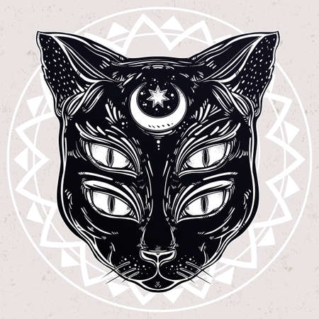 four eyes: Black cat head portrait with moon and four eyes. Four eyed cat is an ideal Halloween, tattoo art, wierd, spirituality, psychedelic art for print, posters, t-shirts and textiles. Vector illustration.