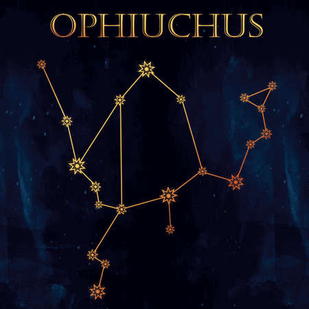 snake calendar: Ophiuchus constellation. Highly detailed zodiac icon. Freehand vintage style drawing. Isolated vector illustration. Illustration