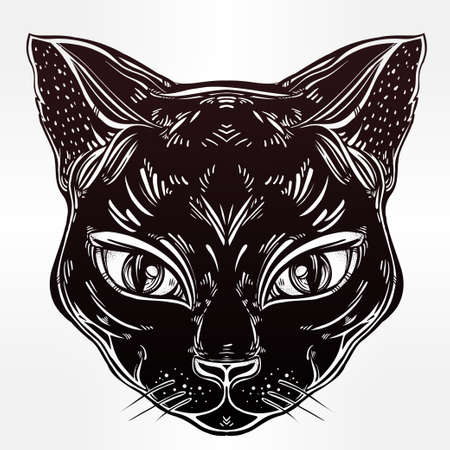 flashes: Black cat head portrait with big eyes. Ideal Halloween background, tattoo art, Egyptian, spirituality, boho design. Perfect for print, posters, t-shirts and textiles. Vector illustration.